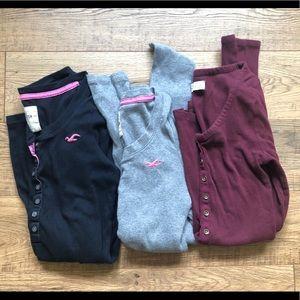 3 Hollister/AF Henley Basic Ribbed Thermal Shirts